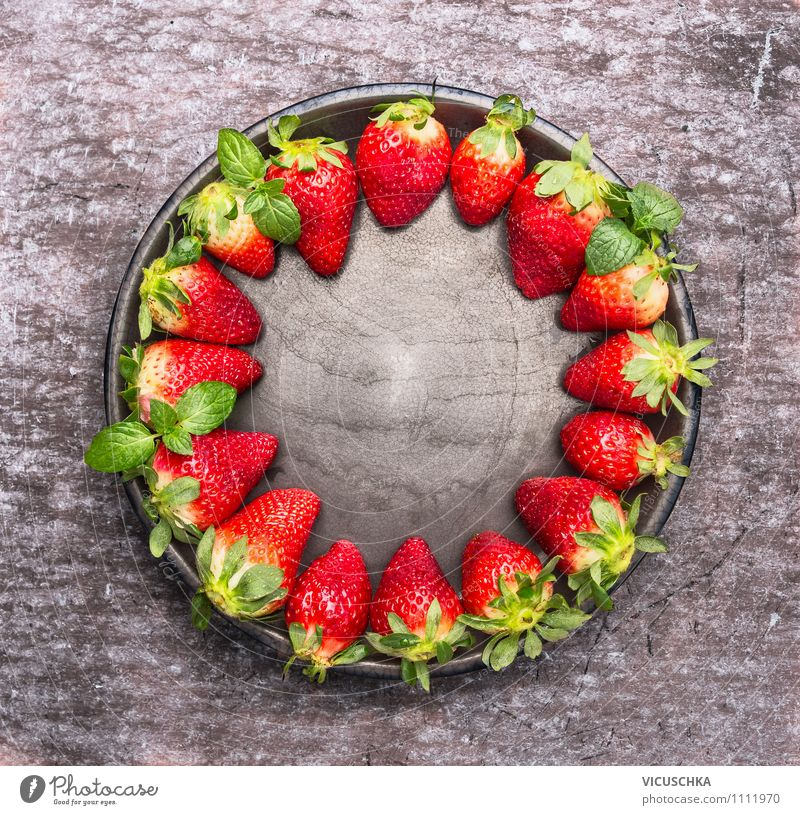 Fresh strawberries on the plate Food Fruit Dessert Nutrition Breakfast Organic produce Vegetarian diet Diet Plate Bowl Style Design Healthy Eating Life Summer