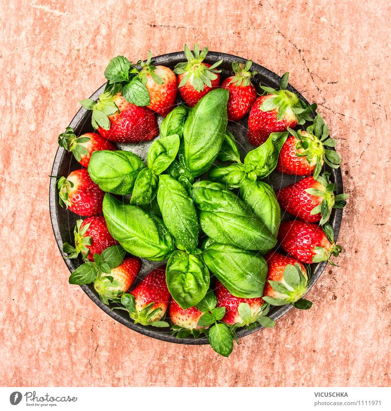 Strawberries and basil in a grey plate Food Fruit Dessert Nutrition Breakfast Organic produce Vegetarian diet Diet Plate Bowl Style Design Healthy Eating Life