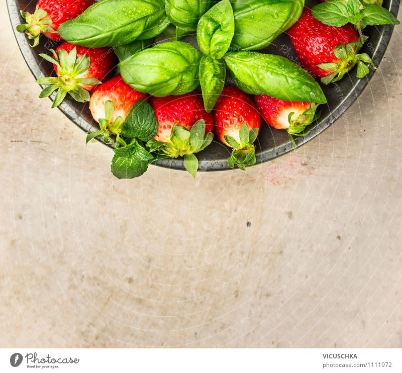 Strawberries and basil in plate Food Fruit Dessert Herbs and spices Nutrition Breakfast Organic produce Vegetarian diet Diet Plate Style Design Healthy Eating