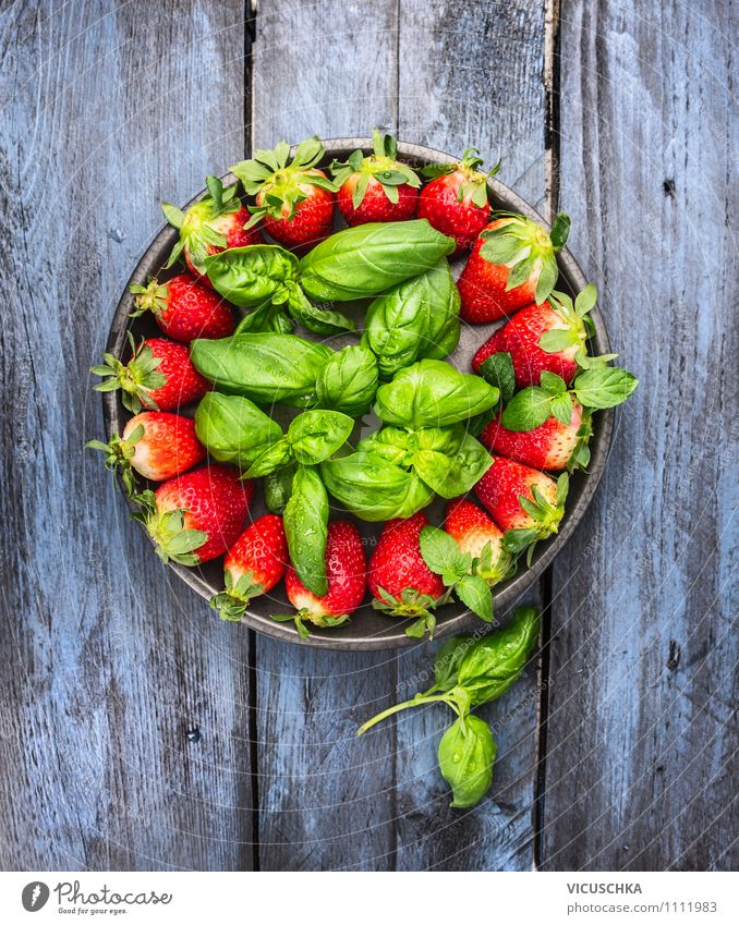 Strawberries and basil on a blue wooden table Food Fruit Dessert Herbs and spices Nutrition Breakfast Organic produce Vegetarian diet Diet Plate Bowl Style