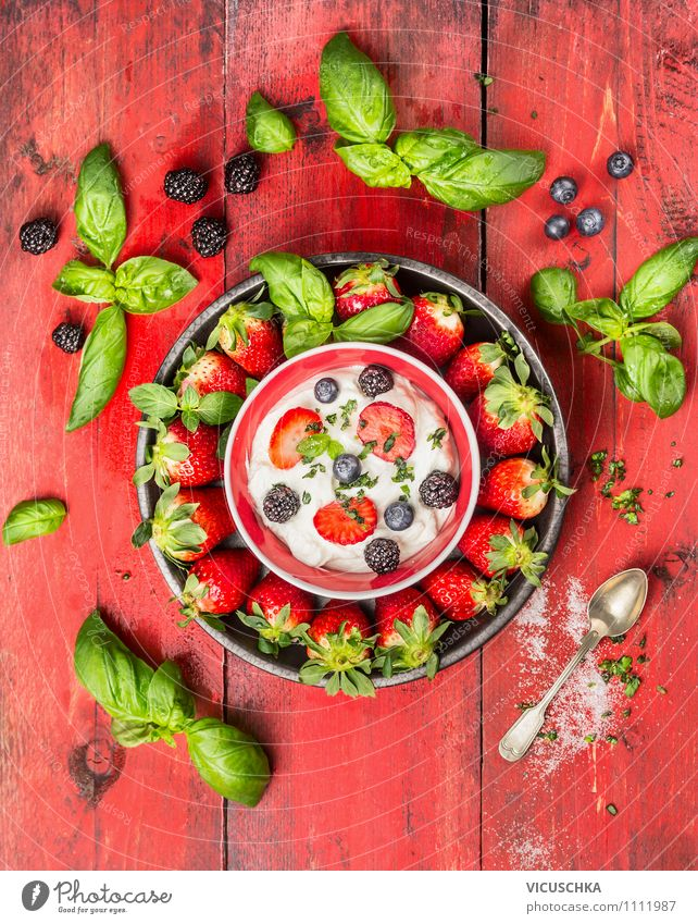 Strawberries with basil, berries, quark and sugar. Food Fruit Dessert Candy Herbs and spices Nutrition Breakfast Organic produce Vegetarian diet Diet Bowl Spoon