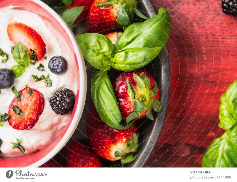 Yoghurt with fresh summer berries Food Fruit Dessert Nutrition Breakfast Organic produce Vegetarian diet Diet Milk Plate Bowl Lifestyle Style Design