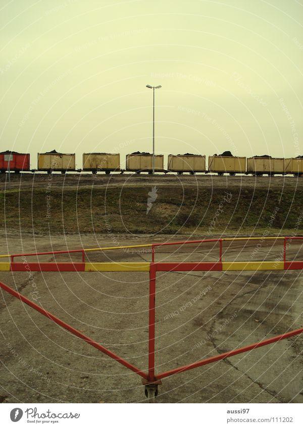 Red Loneliness Railroad Logistics Railroad tracks Middle Train station Graphic Stagnating Platform Damage Outsider Control barrier Strike Rail transport