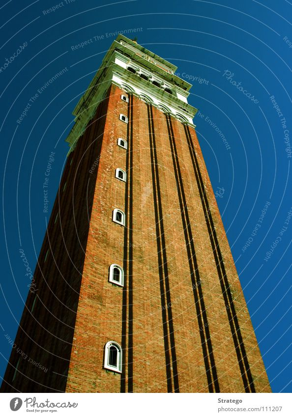 Autumn Religion and faith Art Tall Perspective Tourism Vantage point Tower Italy Landmark Tourist Venice Blue sky Famousness Tourist Attraction