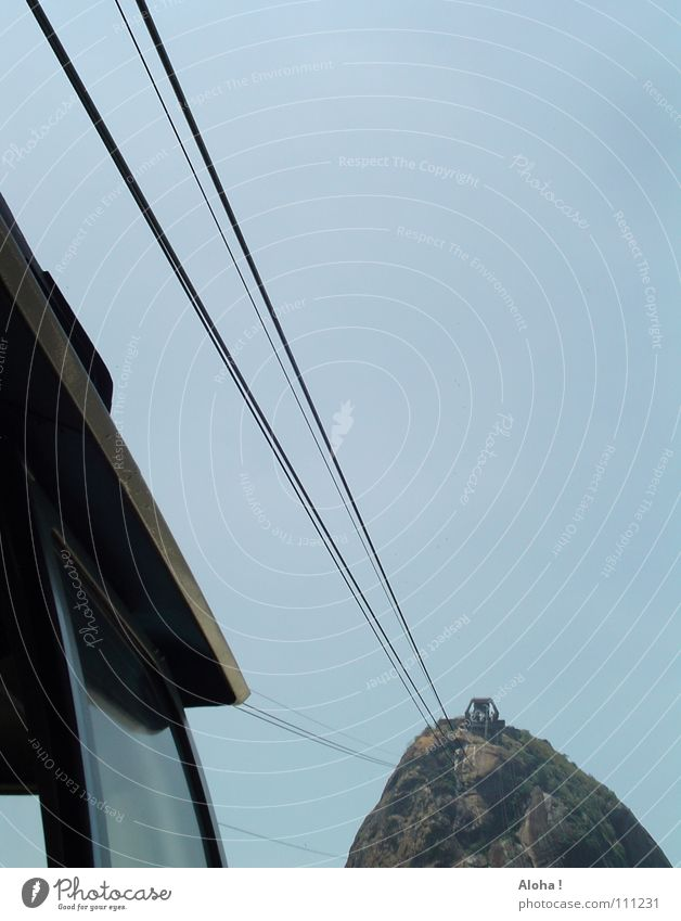 Rock Rope Hill Peak Steel cable Landmark Upward Tourist Attraction Brazil Section of image Partially visible Famousness Means of transport South America Rio de Janeiro Single-minded