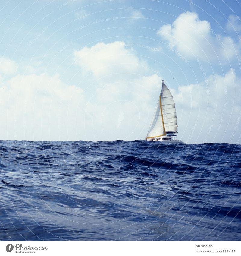 Blue Vacation & Travel Ocean Summer Joy Loneliness Sports Playing Freedom Lake Waves Large Sailing Surf Mediterranean sea Sailboat