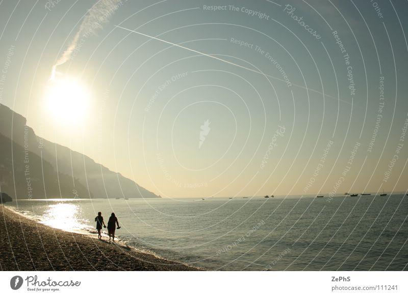 walk to morning Beach Ocean Calm Surface 2 Peace Coast &#1074 sea calmness Sun Contrast two