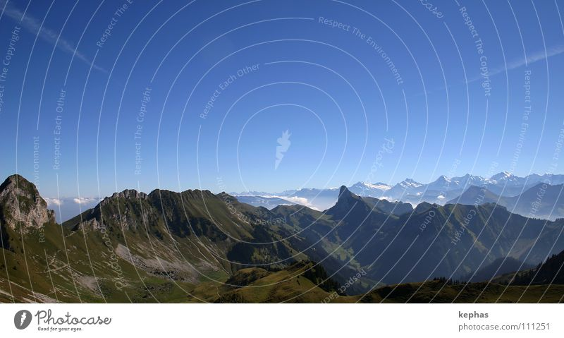 wander far and wide Bernese Oberland Switzerland Peak Panorama (View) Longing Green Hiking Mountain Alps gantric Vantage point Far-off places stockhorn Blue