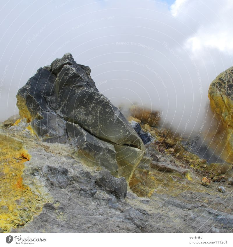Yellow Mountain Gray Stone Fog Italy Smoke Still Life Odor Volcano Lava Sulphur Malodorous