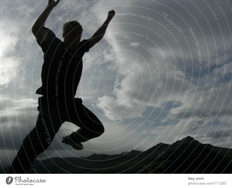 Human being Clouds Playing Mountain Movement Jump Air Action