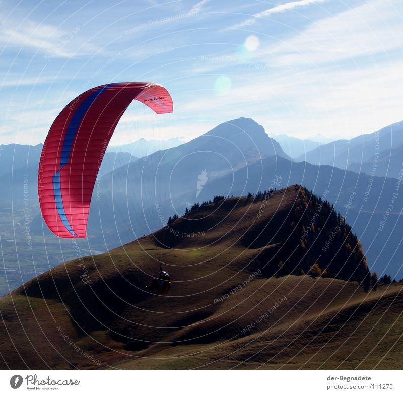 Flying in Heidiland Autumn October Canton Graubünden Switzerland Hill Hilltop Mountain ridge Horizon Slope Leisure and hobbies Vacation & Travel Hiking Green