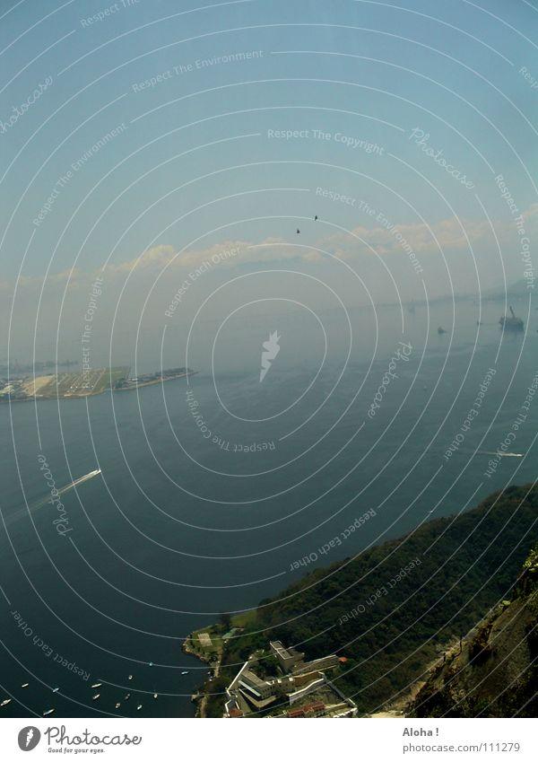 Water Ocean Far-off places Coast Watercraft Hill Harbour Bay Vantage point Landmark Brazil Atlantic Ocean South America Rio de Janeiro Port City Corcovado-Botafogo