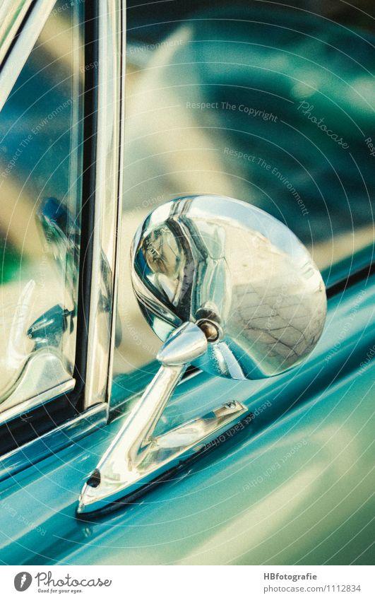 retrospect Car Vintage car Glittering Retro Turquoise Rear view mirror Chrome US car side window Colour photo Exterior shot Detail Copy Space right