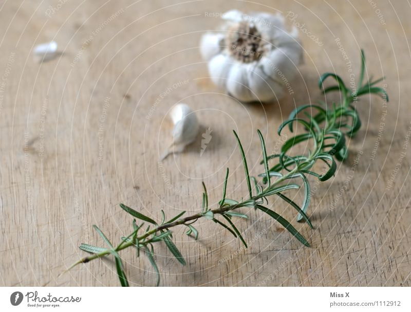 rosemary Food Vegetable Herbs and spices Nutrition Italian Food Healthy Healthy Eating Fragrance Fresh Delicious Rosemary Garlic Clove of garlic Chopping board
