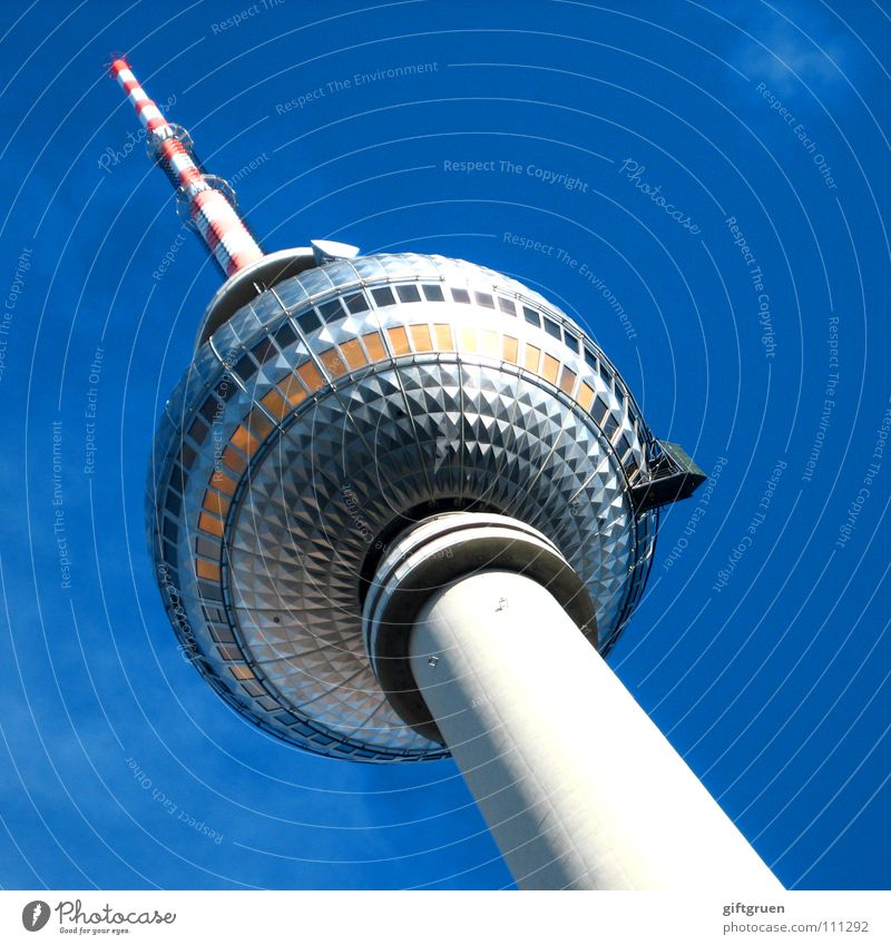 Sky Blue Berlin Art Tourism Tower Television Beautiful weather Monument Landmark Radio (broadcasting) Downtown Berlin Tourist Attraction Sightseeing Capital city Berlin TV Tower