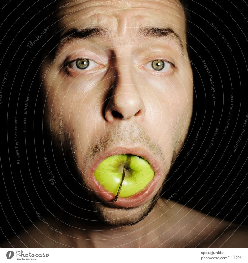 An apple a day keeps the doctor away Man Portrait photograph Freak Delicious Sweet Feed Nutrition Crazy Whimsical Green Joy Apple Fruit bite into Food Eating