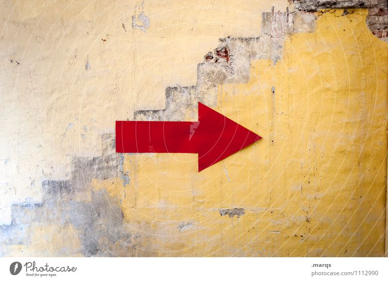 Old Colour Red Yellow Wall (building) Wall (barrier) Signs and labeling Signage Arrow Direction Right Warning sign Change in direction