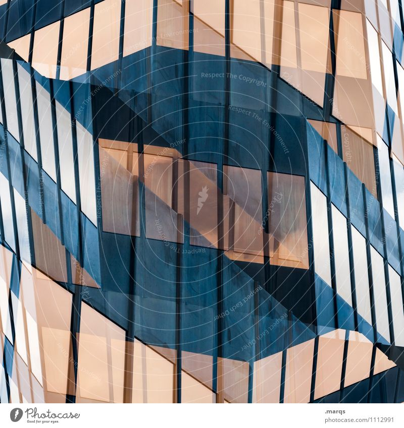 S Style Design Manmade structures Building Architecture Facade Window Glass Line Exceptional Arrangement Perspective Surrealism Symmetry Irritation Colour photo