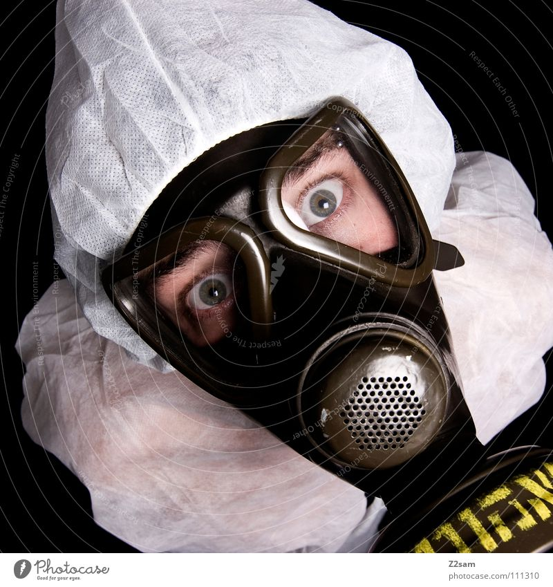 Human being Man White Face Eyes Style Above Head Dirty Environment Crazy Characters Climate Protection Mask Suit
