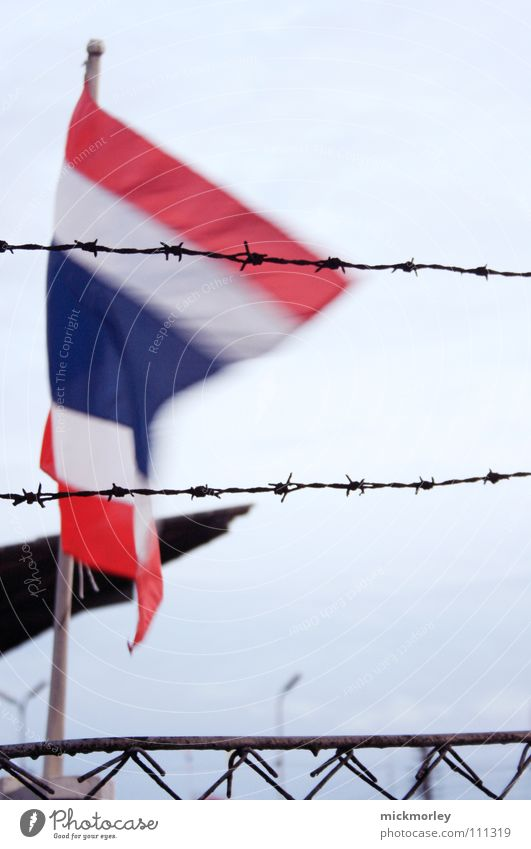 Thailand Flag Vacation & Travel Barbed wire Fence Dangerous Wind Politics and state Asia Threat Sky journey holidays heaven Dictatorship