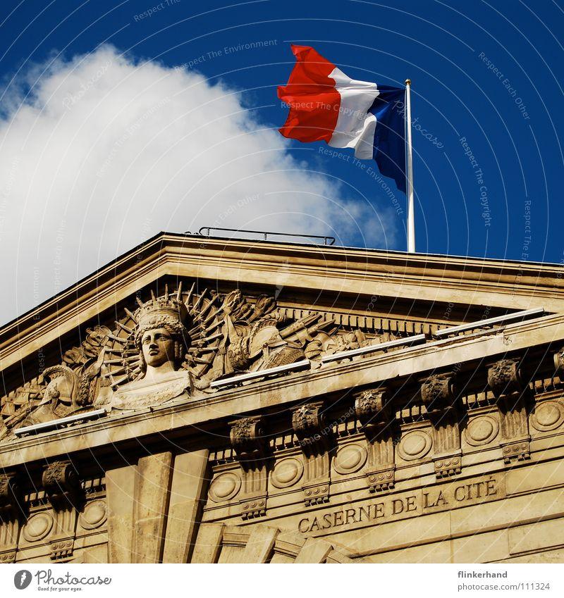 liberté égalité fraternité House (Residential Structure) Sky Clouds Building Roof Flag Historic Blue Paris France Tricolor Hexagon Ancient Gable Monarchy