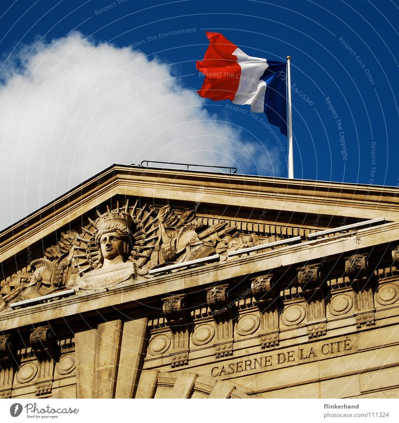 Sky Blue Clouds House (Residential Structure) Building Roof Flag Manmade structures Paris Historic France Ancient Blow Relief Gable Repression