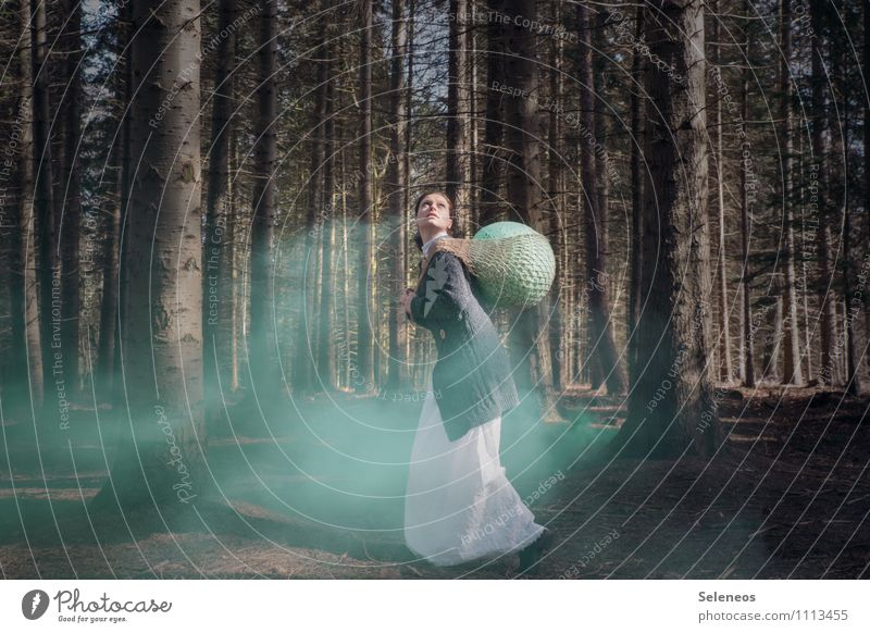 Human being Woman Nature Tree Forest Environment Adults Feminine Easter Dress Net Smoke Discover Jacket Easter egg Resolve