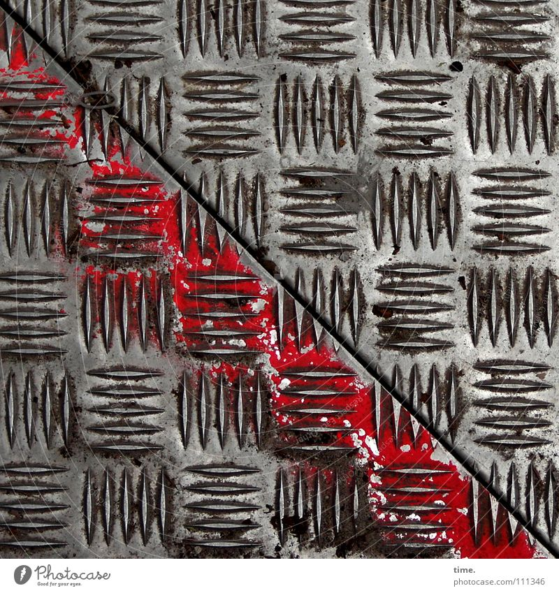 Beautiful Red Air Metal Art Work and employment Dirty Empty Safety Construction site Tracks Diagonal Craft (trade) Seam Iron Furrow