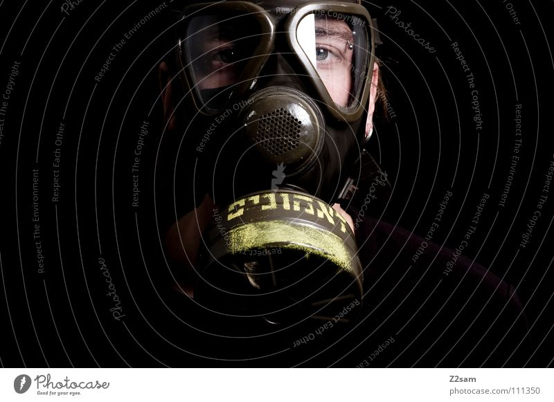 *SELF PROTECTION* Poison gas Carbon dioxide Respirator mask Protective clothing Suit Sterile Safety (feeling of) Portrait photograph Environment Air pollution