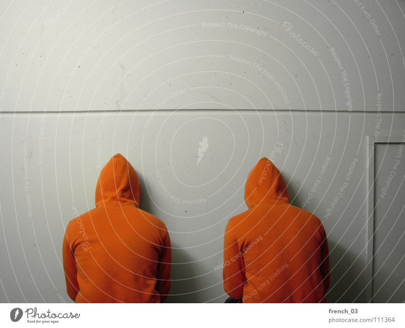 the wall in front of us Human being Man White Colour Wall (building) Wall (barrier) Lake Think Line Orange Masculine Free Perspective Clothing Corner Jacket
