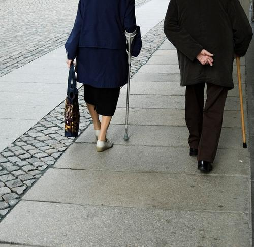 50+ Shopping Healthy Illness Retirement Human being Senior citizen Town Old Walking Poverty Together Blue Black White Power Trust Society Generation Walking aid