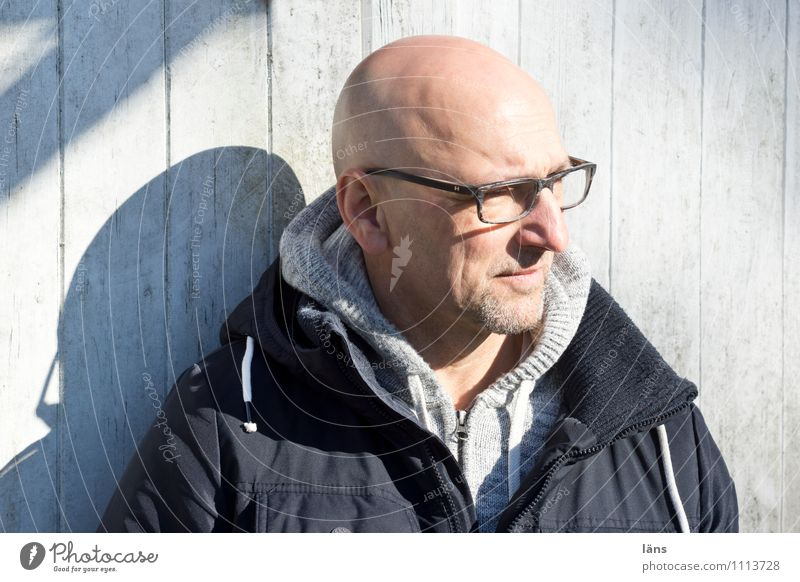 March sun Man Bald or shaved head Portrait photograph Head Human being Wooden wall