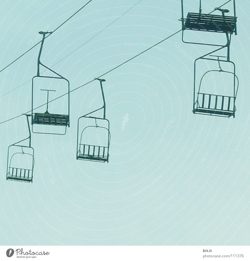 LIFTS Cable car Sky Direction Blue Chair lift Isolated Image Empty Deserted Copy Space bottom Horizontal Blue sky Cloudless sky Sports Logistics Tourism Winter