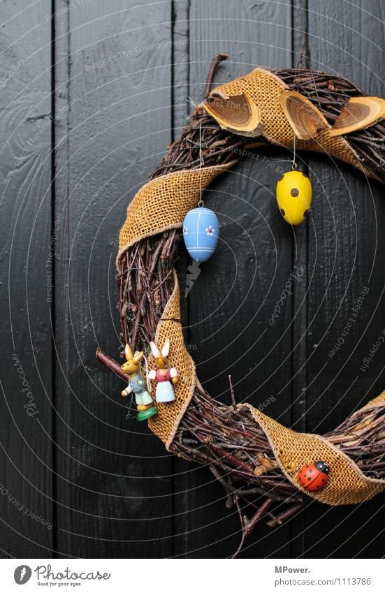 Easter wreath of the fifth Wood Anticipation Wreath Easter egg Door Decoration Easter egg nest Blue Yellow Spotted Plaited Handcrafts Home-made Colour photo