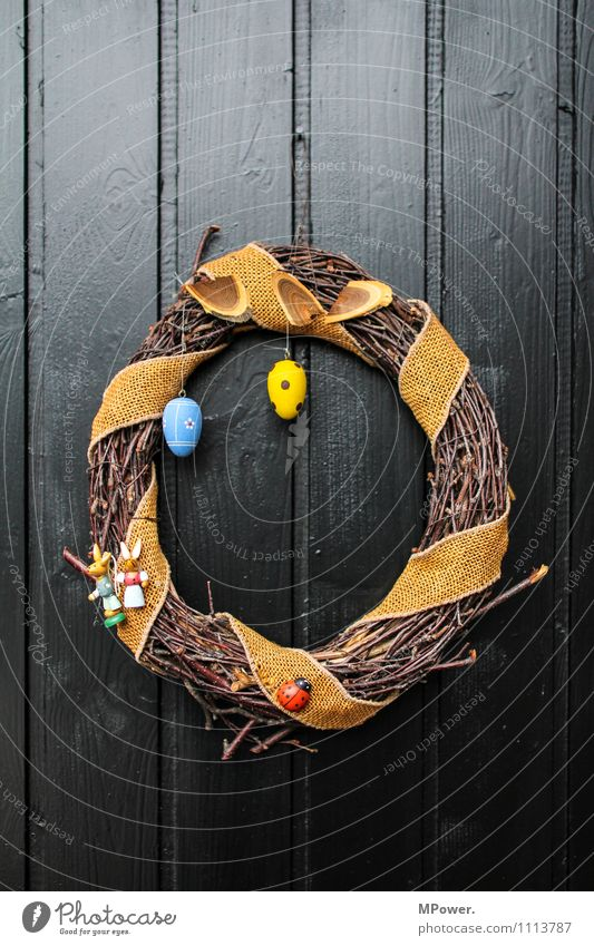 osterkranz the fourth Wood Anticipation Easter Wreath Easter egg Door Decoration Easter egg nest Blue Yellow Spotted Plaited Handcrafts Home-made Colour photo