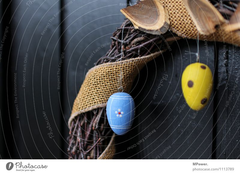 easter wreath Wood Anticipation Easter Wreath Easter egg Car door Decoration Easter egg nest Blue Yellow Spotted Plaited Handcrafts Home-made