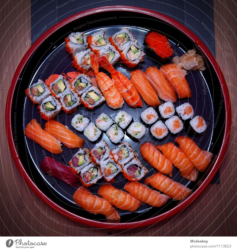 beautiful sushi Food Fish Seafood Vegetable Rice Nutrition Dinner Banquet Finger food Sushi Asian Food Bowl Table Tablecloth To enjoy Exceptional Fantastic