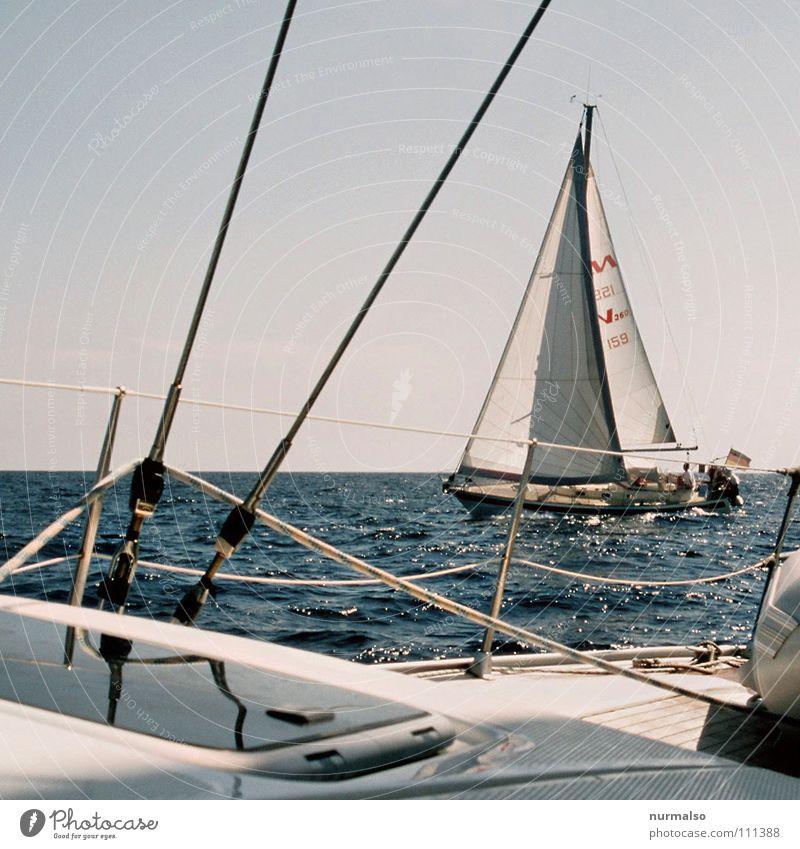 crossed Watercraft Sport boats Sailboat Driving Swell Ocean Rope Hatch Railing White Blue Regatta Seaman Captain Success Summer Vacation & Travel Rich Beautiful