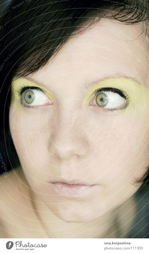 because today is my birthday... Joy Make-up Carnival Young woman Youth (Young adults) Eyes Green Center point Eyeliner Saucer-eyed Portrait photograph Brunette