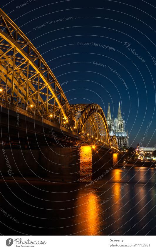 Postcard from Cologne #2 Town Downtown Old town Church Dome Bridge Tourist Attraction Landmark Cologne Cathedral Hohenzollern Bridge Illuminate Large Calm