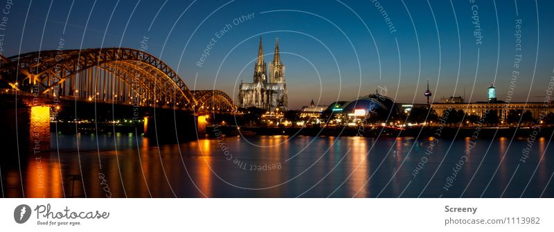 Postcard from Cologne #3 Water Sky Cloudless sky Sunrise Sunset Summer River Rhine Town Downtown Old town Skyline Church Dome Bridge Tourist Attraction Landmark