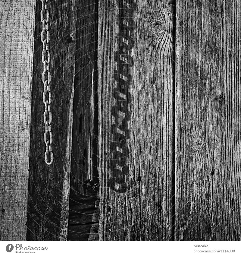 let go of sb./sth. Spring Hut Facade Wood Sign Emotions Might Fear Freedom Hope Chain Chain link Wooden wall Board Black & white photo Exterior shot Close-up