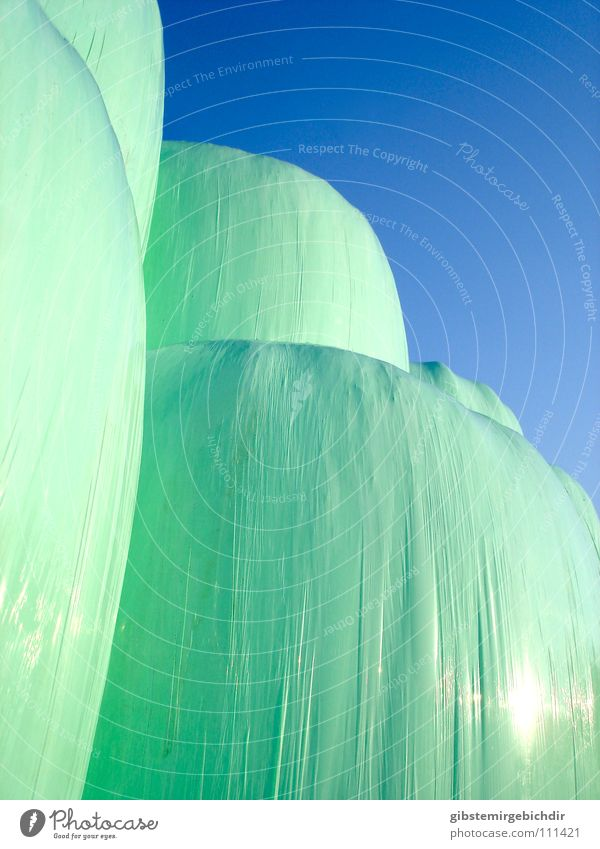 hay mountain Autumn Abstract Green Harvest Bale of straw Statue Plastic Sheath Stack Blue