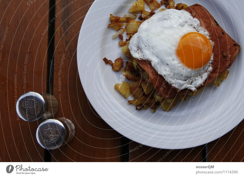 Healthy Eating Food photograph Art Esthetic Delicious Appetite Egg Plate Bavaria Lunch Cheese Sausage Unhealthy Potatoes Rich in calories Salt caster