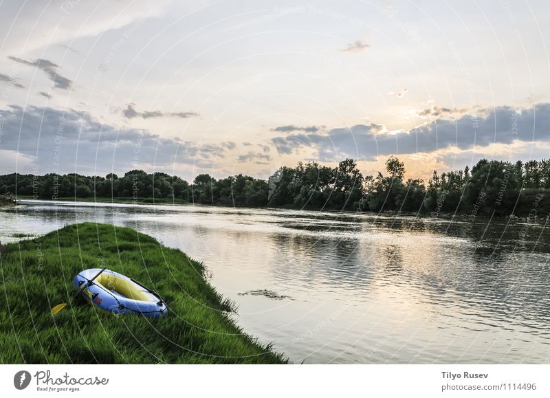 Colorful Sunset At The River Beautiful Nature Landscape Sky Forest Places Natural Blue Green Colour Peace Beauty Photography colorful Europe fishing Flow light