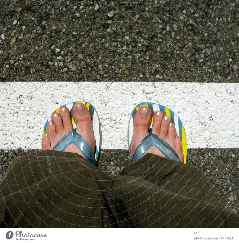 Street Feet Line Dangerous Floor covering Border Traffic infrastructure Toes Barefoot Flip-flops Exceed