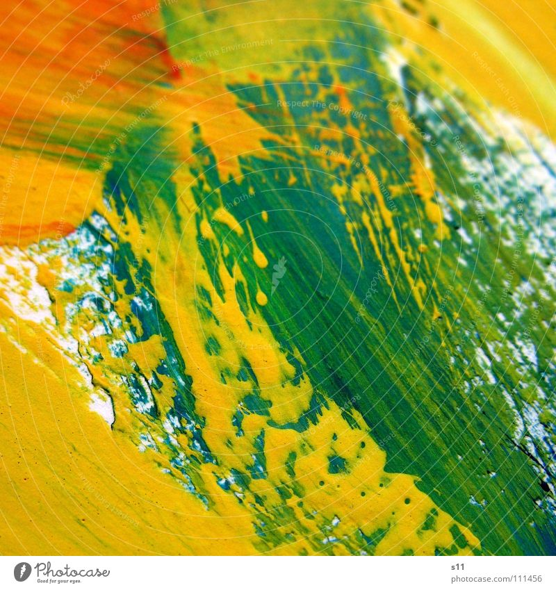 colour traces Trace of color Brush stroke Painting and drawing (object) Art Multicoloured Tone-on-tone Yellow Green Red White Background picture Colour
