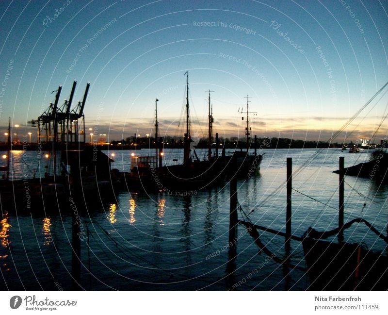 harbour fairy tale Watercraft Black Beach Harbour Winter Evening Blue sky Hamburg Container Sail Electricity pylon Light