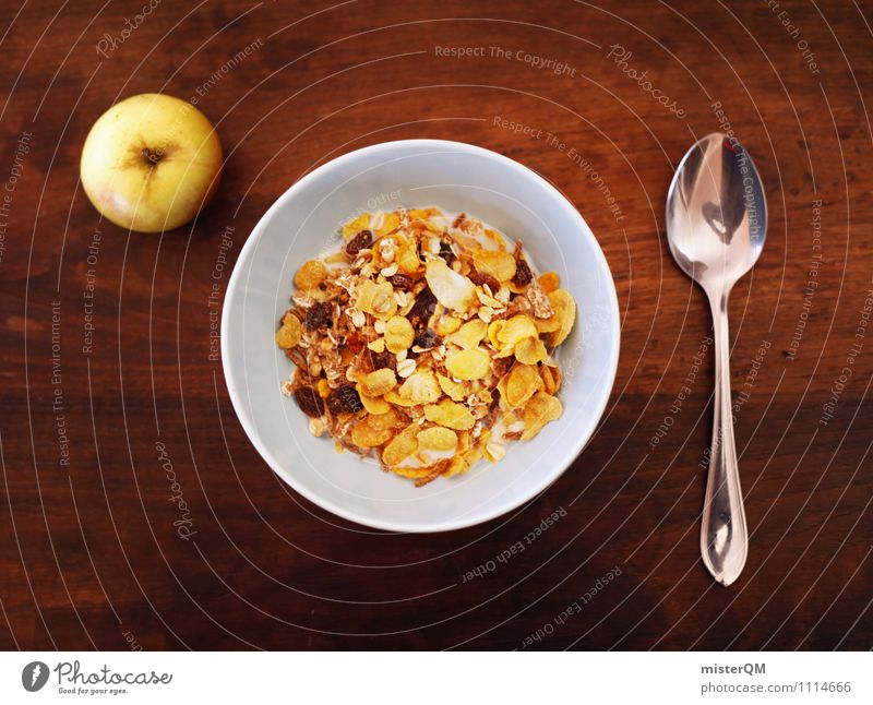 Start the day. Art Esthetic Cereal Bowl Breakfast Breakfast table Morning break Spoon Apple Table Food photograph Healthy Eating Delicious Appetite Colour photo