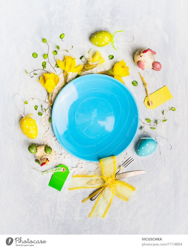 Empty plates with flowers and Easter decoration Nutrition Banquet Crockery Plate Knives Fork Style Design Interior design Decoration Table Kitchen